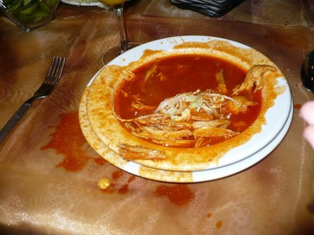 Pozole - doesnt look very nice because my friend threw my camera into it