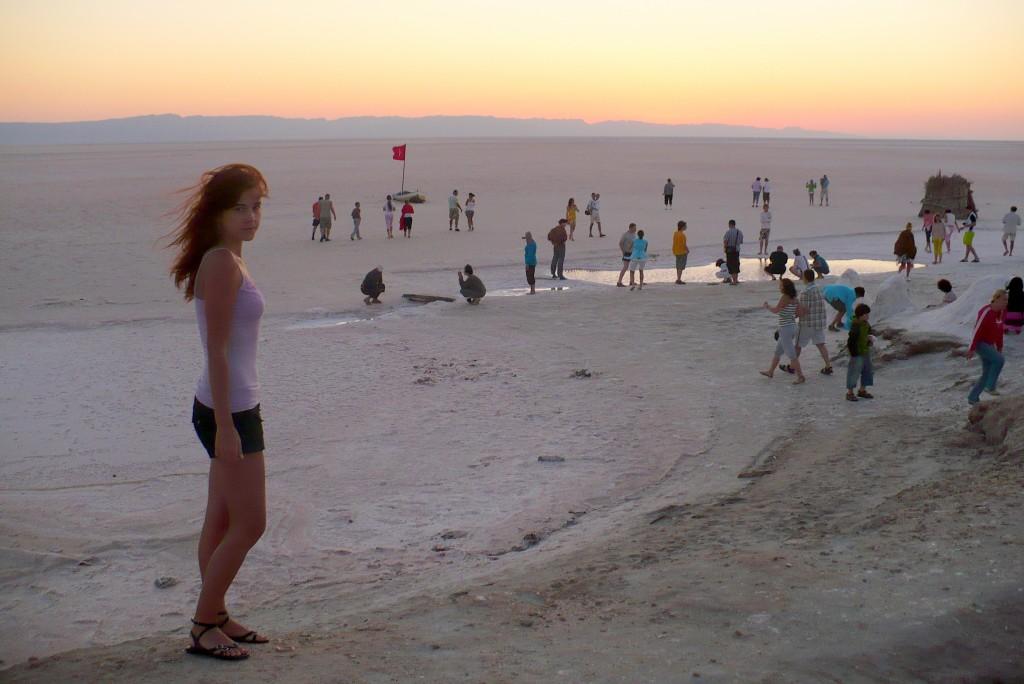 Next day beautiful sunrise on a salt desert in Tunisia