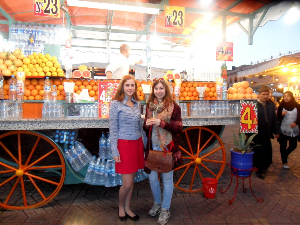 In front of an amazing juice stall!