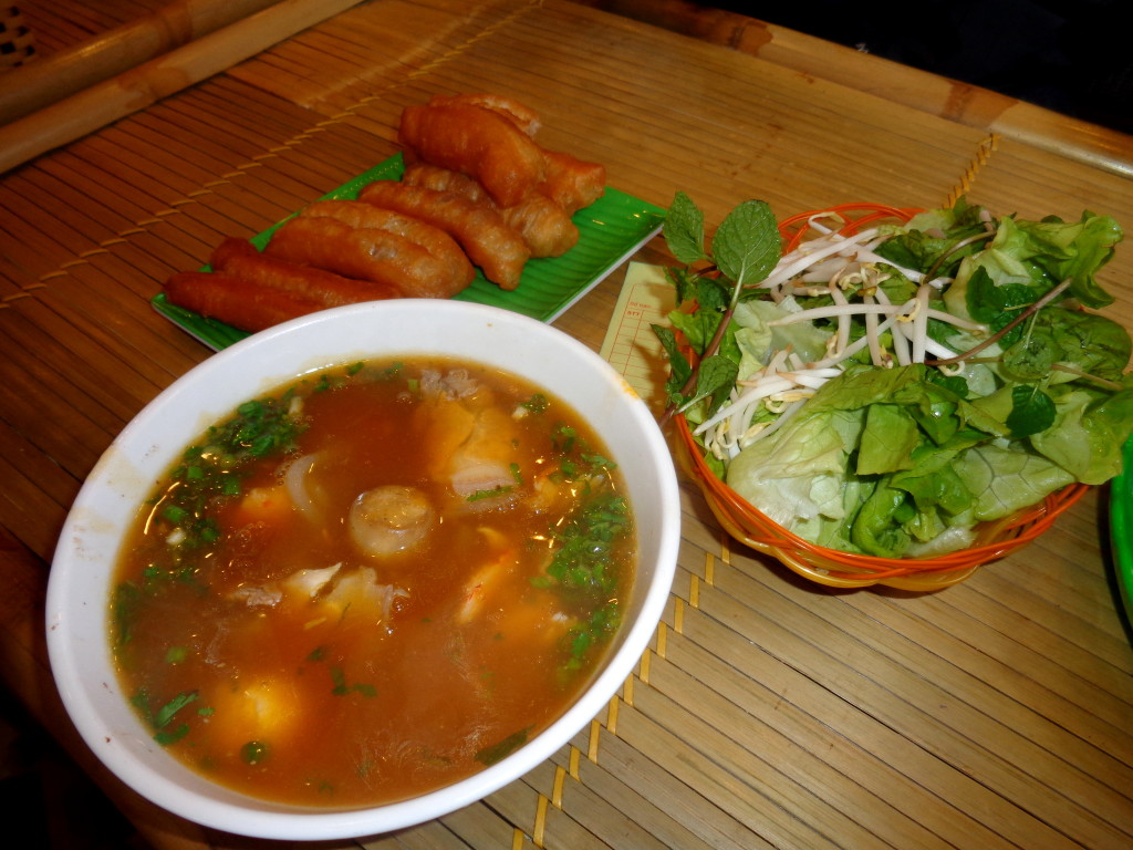 Pho served with some fried fat dough.