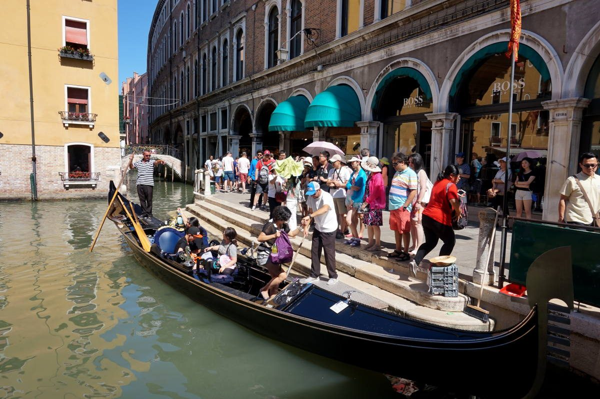 tourists getting into a gondola