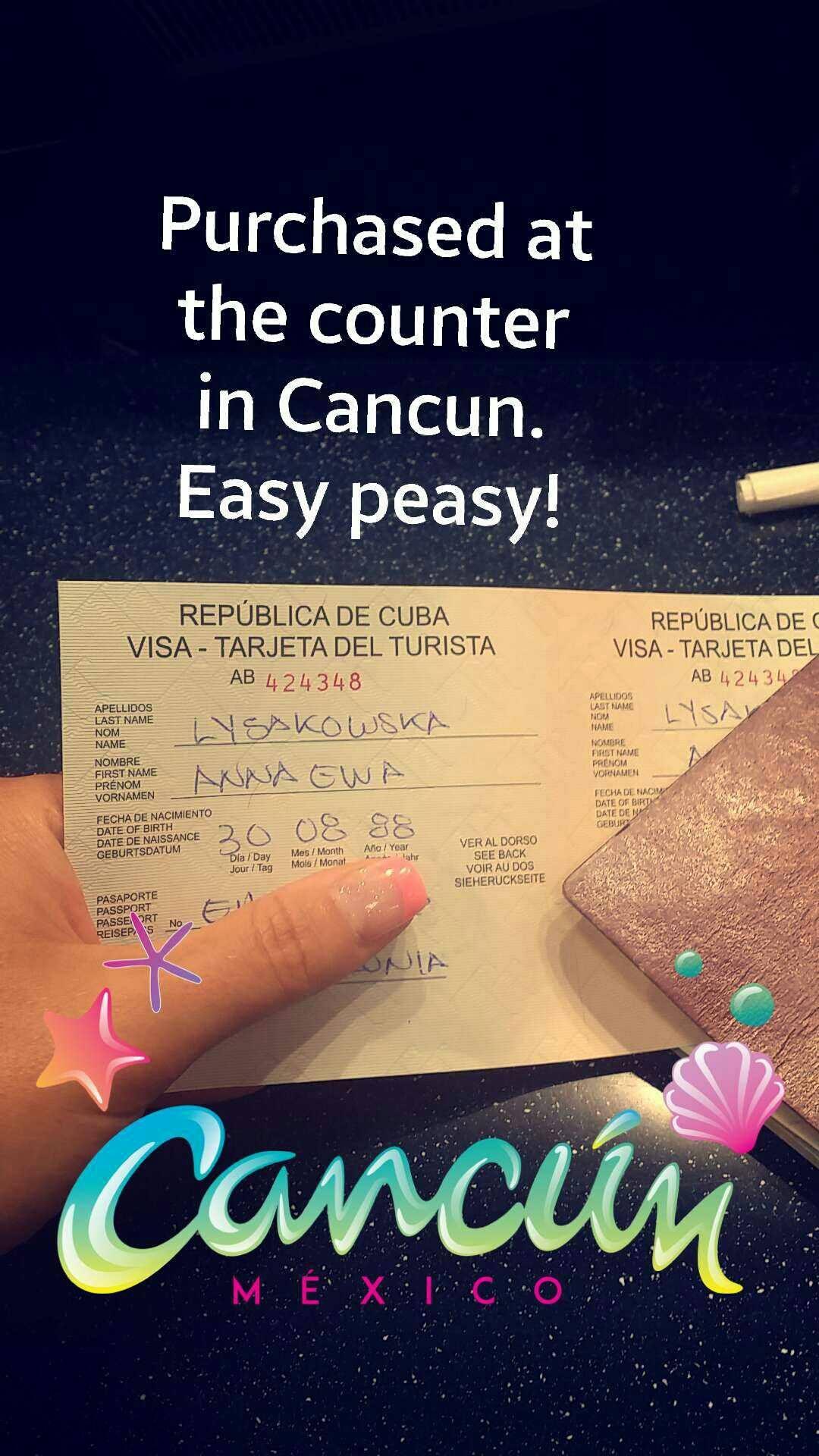 Cuba Tourist Card