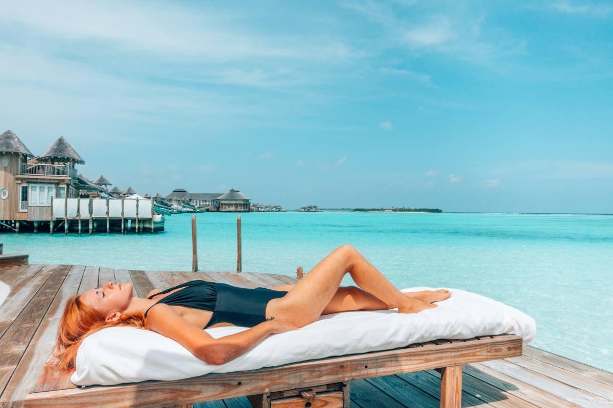 sunbathing Maldives