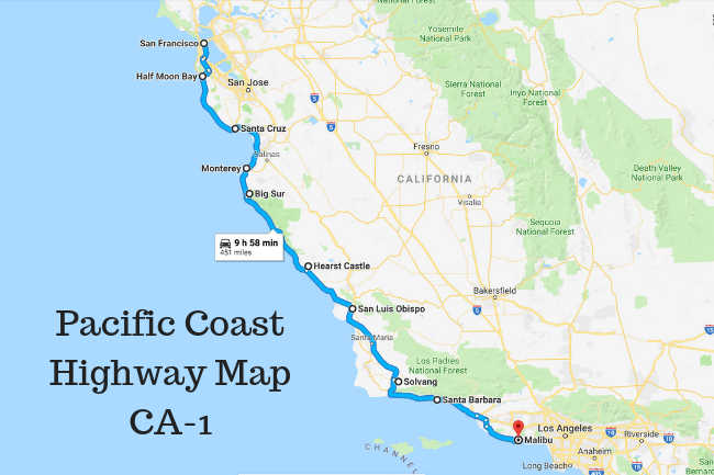 Pacific Coast Highway Map CA-1