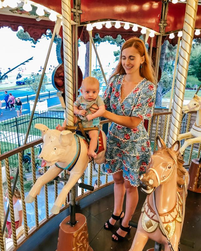 baby on a carousel Nice France