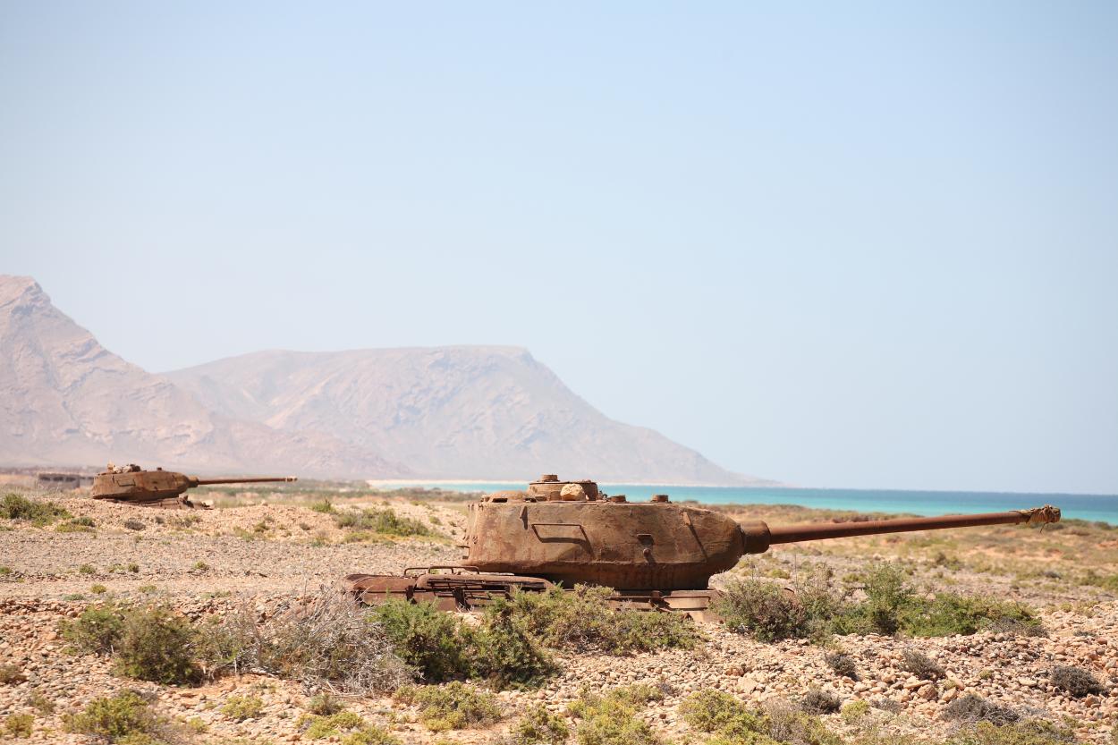 abandoned tank in Socotra